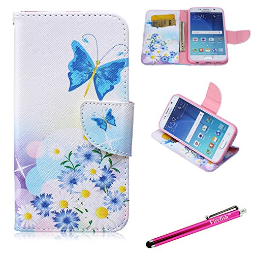 Galaxy S6 Case, Firefish Galaxy S6 Wallet Case [Kickstand] [Bumper] PU Leather Protective Skin Magnetic Closure Flip Flap for Samsung Galaxy S6 - Blue Butterfly (Ranger Floral Belt)