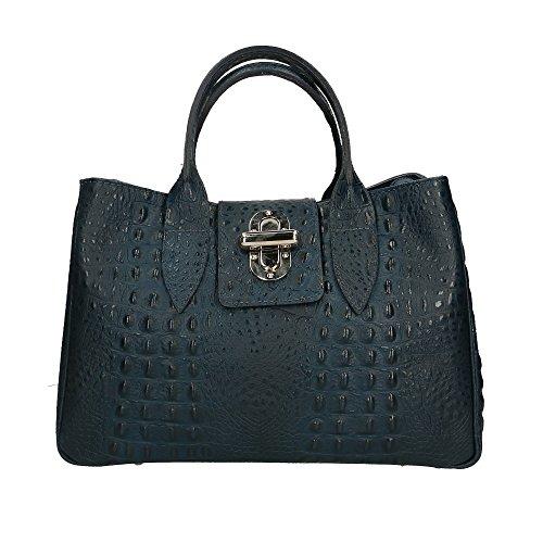 Oscuro De 35x25x15 Mujer In Cuero Made Azul Italy Aren Bolso En Auténtico Cm O74xOCqw