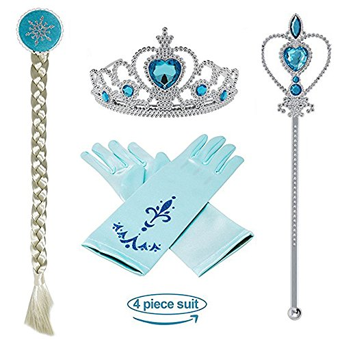 Princess Elsa Dress up snow queen costume Disney 4 Pieces Crown Wig Wand Gloves