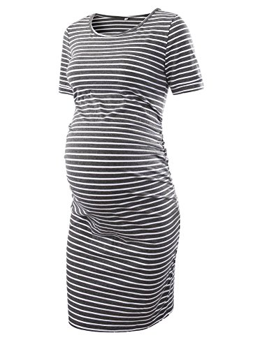 Liu & Qu Women's Maternity Bodycon Ruched Side Dress Casual Short & 3/4 Sleeve Dress For Daily Wearing Or Baby Shower -