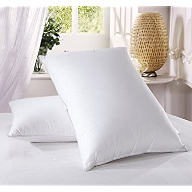 Luxury Down Pillow - 500 Thread Count Cotton , King Size, Firm, Set of 2