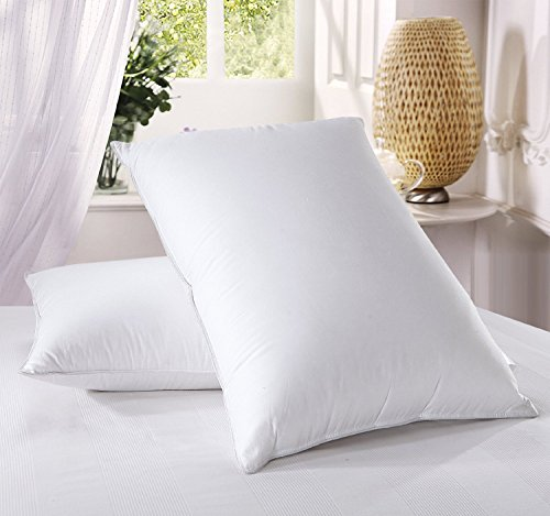 Luxury Down Pillow - 500 Thread Count Cotton , King Size, Firm, Set of (Luxury Goose Down Pillow)