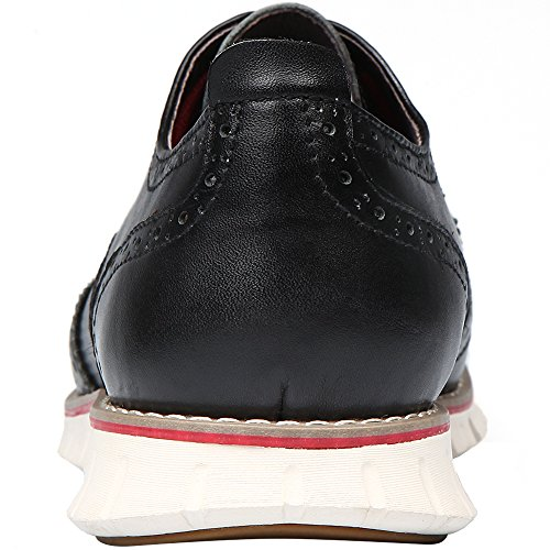 Laoks Men's Brogues Oxford Wingtip Genuine Leather Dress Shoes for Business Casual Lace-up (Black) by Laoks (Image #6)