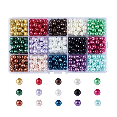 - Pandahall 1Box/510pcs 15 Color Satin Luster Glass Faux Pearl Round Bubblegum Ball Beads 8mm for Jewelry Making