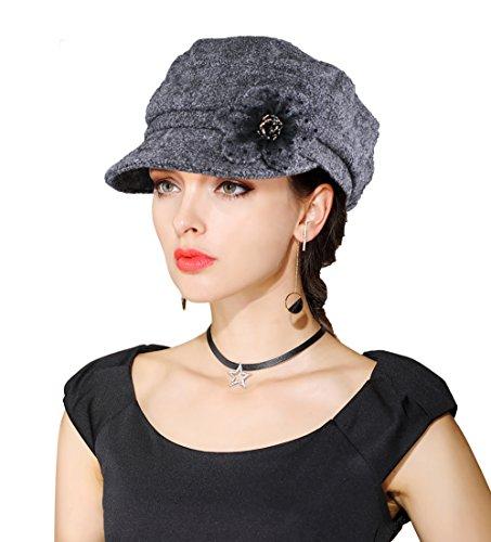 Newsboy Hats For Women - EINSKEY Women's Winter Hat Newsboy Cap Wool Felt Cloche Hat Flower Church Visor Beret Cabbie Hat