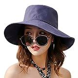 HUAMULAN Cotton Women Sun Hat Summer Beach Lady Boonie Cap UPF 50 Chin Cord,Navy