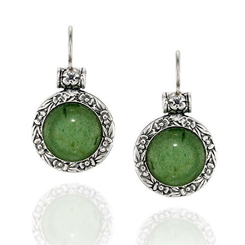 Vintage Green Jade (Antique Style Round Green Aventurine Gemstone Earrings with Ornate Floral Design and Secure Backs)