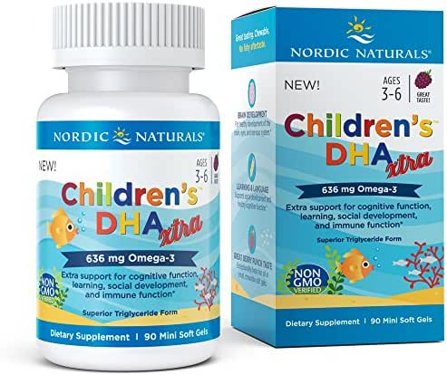 Nordic Naturals Children's DHA Xtra - Potent Omega 3 Formula with Twice The DHA for Kid's Cognitive Development, Learning and Mood, Berry Punch, Softgel - 90 Count