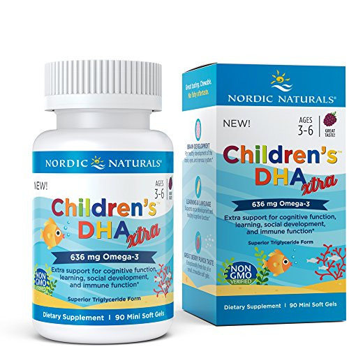Nordic Naturals Children's DHA Xtra - Potent Omega 3 Formula with Twice The DHA for Kid's Cognitive Development, Learning and Mood, Berry Punch, Softgel - 90 Count by Nordic Naturals