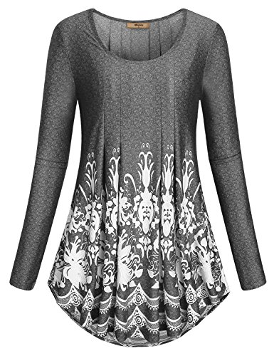 Flowy Blouse ,Miusey Women T Shirt Long Sleeve Crew Neck Loose Ruched Knitted Tunic Round Swing Floral Prints Tops Black (Ladies Long Sleeve Crewneck T-shirt)