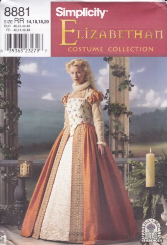 Simplicity Sewing Pattern 8881 Historical Elizabethan Gown, Sizes 14-20 (Elizabethan Costume Pattern)