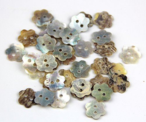 Pack of Mixed Flower Shaped 12mm 2 Holes Shell Sewing Crafting Scrapbooking Buttons Approx (Pearl Flower Button)