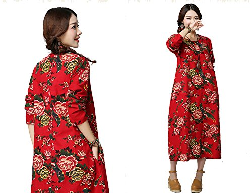 D-soleil Taille Plus Imprimé Fleurs Femmes Robes À Manches Longues Avec Poches Rouges