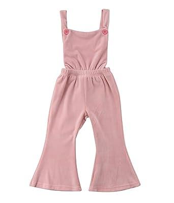 e9bae7da0f6e Qiylii Toddler Kids Baby Girls Velvet Backless Romper Jumpsuit Flare Pants  Overall Outfits Pink (12