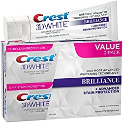 Crest 3D White Brilliance, Fluoride Anticavity Teeth Whitening Toothpaste, Vibrant Peppermint, 4.1 oz. each, Twin Pack