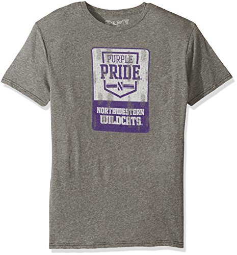 Original Retro Brand NCAA Northwestern Wildcats Men's Triblend Tee, Medium, Steel Grey