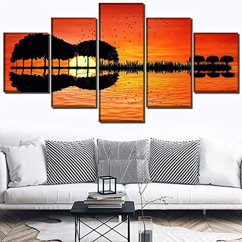 (LONLLHB Painting Canvas Wall Hd Print Sunset Picture Canvas 5 Pieces Lake Reflection Landscape Music Guitar Painting Frame Modern Home Decor Wall Art)