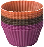 Chicago Metallic Baking Essentials Silicone Baking Cups, Set of 12, Assorted Colors