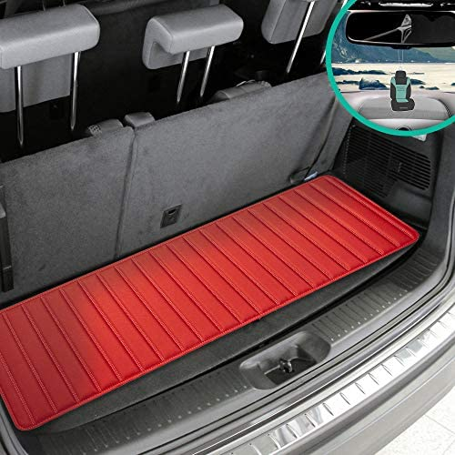 """FH Group F16500 Deluxe Heavy-Duty Faux Leather Multi-Purpose Cargo Liner, Striped, 14"""", Red Color w. Gift- Fit Most Car, Truck, SUV, or Van"""