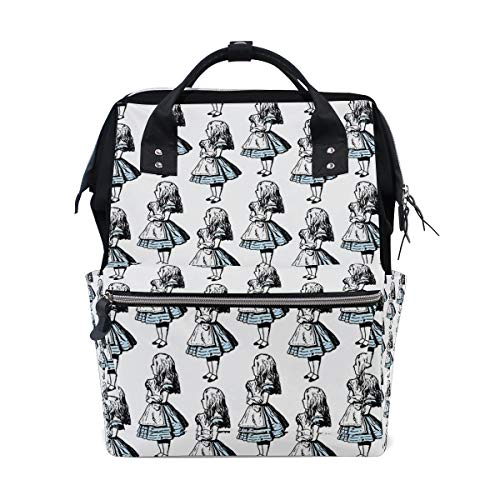 Small Alice in Wonderland Diaper Bag Multi-Function Travel Backpack Nappy Tote Bags for Mom & Dad Large Capacity