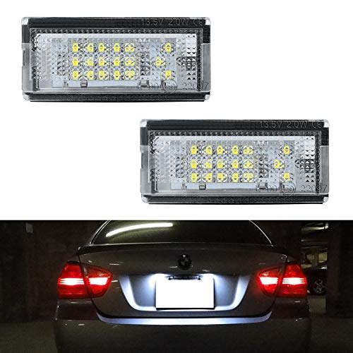 3 Series 4d Led (GemPro 2pcs Car License Plate Light Assembly for BMW E46 3 Series, Powered by 18-SMD Xenon White LED Lights)