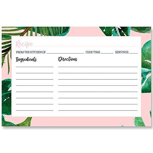 Baby Shower Recipe Card - Recipe Cards, Tropical Vibes, Baby Pink, Green, White, Black, Palm Tree Leaves, Summer Bridal Shower, Tropical Wedding Stationery, Recipe Exchange, 24 Printed Cards