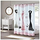 Pink Shower Curtain DS BATH Haute Pink Shower Curtain,Mildew Resistant Shower Curtain,Print Shower Curtains for Bathroom,Cute Bathroom Curtains,Waterproof Polyester Fabric Shower Curtain,72