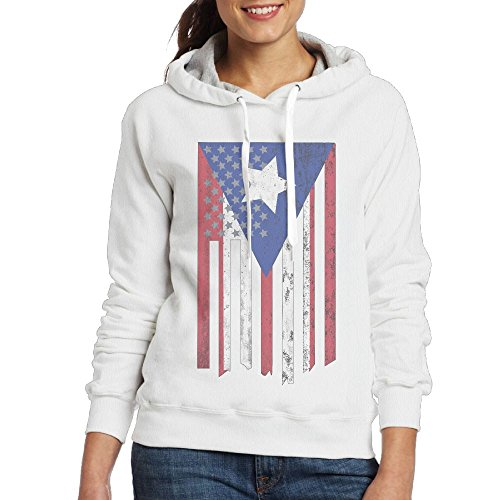 Womens Puerto Rico American Flag Pullover Hoodie