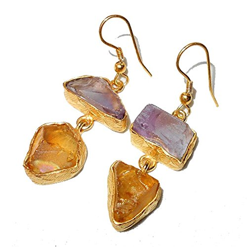 Citrine Amethyst Earrings - Sitara Collections SC10312 Gold-Plated Rough Gemstone Earrings, Citrine and Amethyst