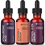 Anti Aging Skin Care Set by Eve Hansen - Best Natural Anti Wrinkle Serum Set, Dark Spot Corrector, Reduce Hyperpigmentation, Acne Scars, Age Spots - Hyaluronic, Retinol, Vit C Serums - 3 X 1 Ounce