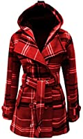 Catch One Ladies Belted Button Military Check Coat Womens Hooded Winter Jacket Size 8-14