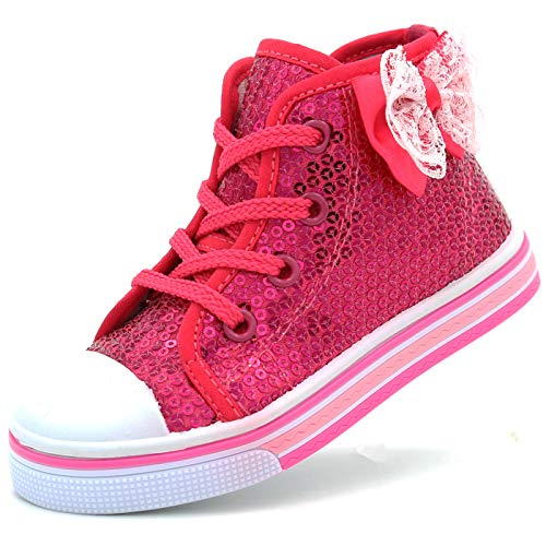 Canvas Sneakers Shoes for Toddler Girls Infant Baby Strap Soft Comfortable Easy Walk (7 M US T, H. Pink-2)