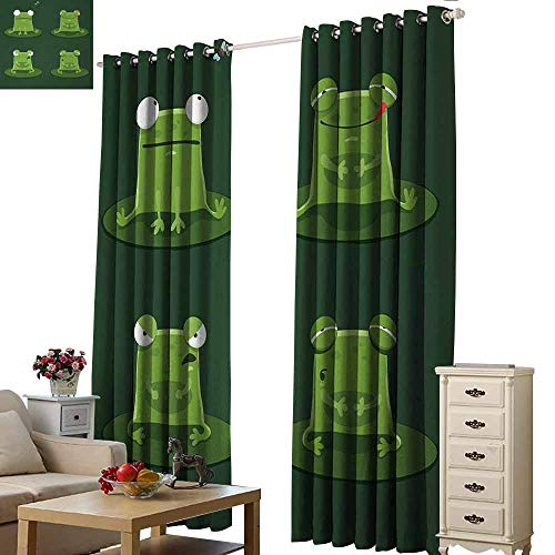 Homrkey Decor Curtains Funny Funny Muzzy Frog on Lily Pad in Pond Hunting Tasty Fly Expressions Cartoon Animal Thermal Insulated Tie Up Curtain W96 xL84 Bottle Green