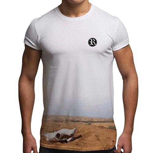 Rip Out Skull T-shirt - Bang Tidy Clothing RIP Desert Skull T Shirt - White - L (Double Sided)