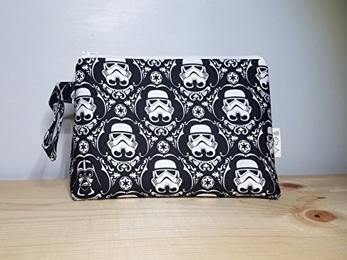 Storm Trooper Damask Wedge Bag - Travel Case - Find the Hidden Darth Vader - Zippered Bag - May the Force be with you - Gifts under 30 - Cosmetic Storage