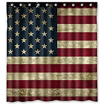KXMDXA Beautiful American Flag Waterproof Polyester Bath Shower Curtain Size 66x72 Inch