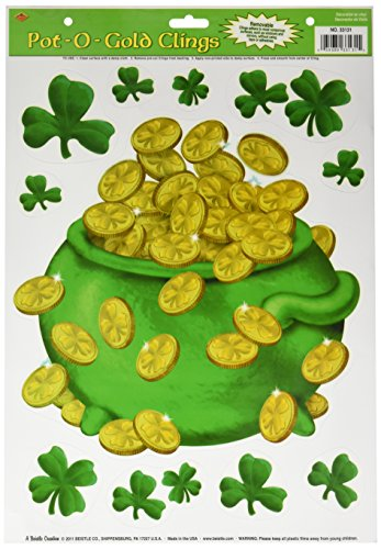 Beistle 33131 Pot-O-Gold Clings Sheet, 12-Inch by 17-Inch (Green Pot O Gold Glasses)