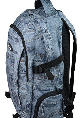Daypack , Rucksack in Jeans Optik - Freizeitrucksack , Schulrucksack , Backpack mit Coolem Jeansmusterdesign (hellblau) hellblau