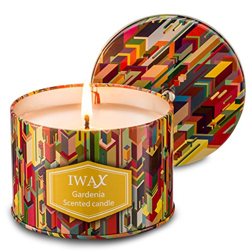 iwax Scented Candles Gardenia 8.5 Oz Sustainable Vegan Natural Soy Travel Tin Candles (Gardenia)