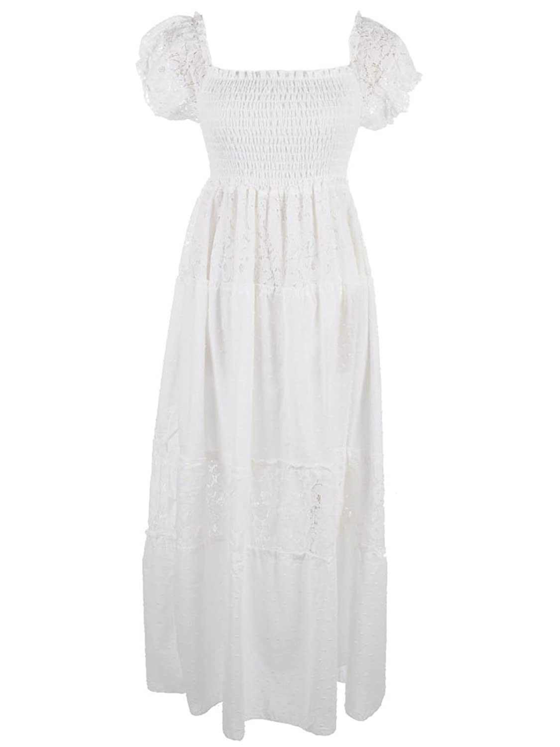 Prairie Inspired Semi-Sheer Long Smocked Dress w Lace  AT vintagedancer.com