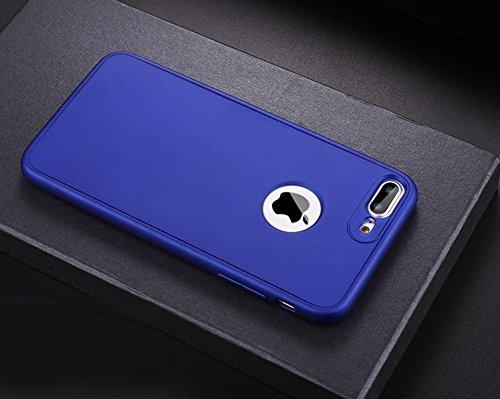 Custodia Cover 360 gradi Protezione per iPhone 6/6S plus Silicone Morbida,Ukayfe [2 in 1] Completa Full Body Cover in Vetro Temperato Screen Protector Film Ultra Resistente per iPhone 6/6S plus Flexib Blu Scuro