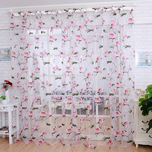 PHOTNO Brilliant Peony flowers Tulle Window Screens Door Balcony Curtain Sheer Scarfs Cover (Pink) (Window Peony)