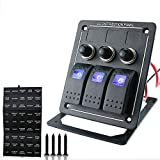 Ambuker 3 Gang LED DC 12V Waterproof Aluminium Rocker Switch Panel Circuit Breaker
