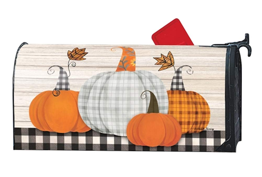 Studio M Fall Outdoor Mailbox Cover MailWrap - Plaid Pumpkin