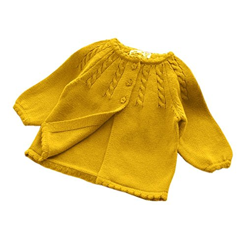 (KIMJUN Infant Baby Girls Boys Cardigan Sweater Unisex Toddler Knit Button up Outwear Yellow XL)