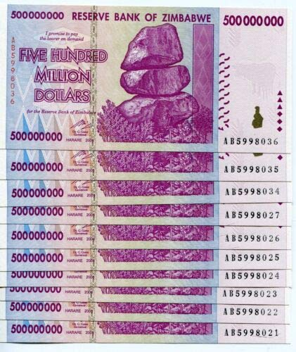 Nice1159 Rare 10 x Zimbabwe 500 Million Dollar banknotes-circulated-2008/AA or AB Currency for Collectors (Only 3 Sets Left) (Zimbabwe Currency Circulated)