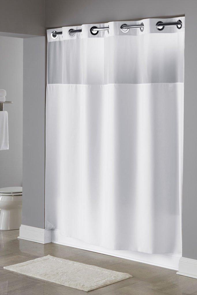 Hookless HBH49MYS01SL77 Illusion Shower Curtain With Snap In Liner Sheer Top White Longer Length 71'' x 77''