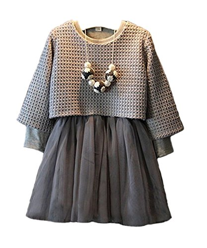 Sweater Suits (Cute 2pcs Suit Gray Polyester Sweater Top and Dress for Baby Girls (5-6years))