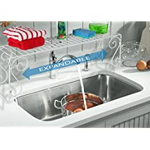 Old Home Kitchen Expandable Over Sink Shelf - White