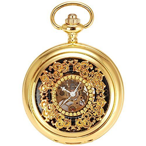 - Carrie Hughes Mens Skeleton Mechanical Pocket Watch CH96